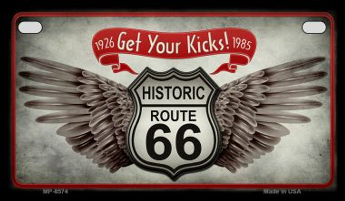 Route 66 Wings Get Your Kicks Novelty Metal Motorcycle Plate MP-8574