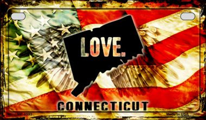 Connecticut Love & Wings Novelty Metal Motorcycle Plate MP-8593