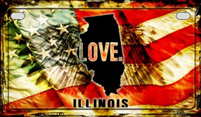 Illinois Love & Wings Novelty Metal Motorcycle Plate MP-8599
