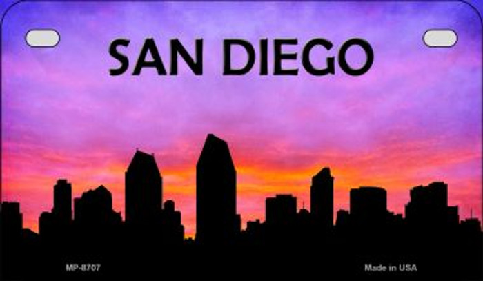 San Diego Silhouette Novelty Metal Motorcycle Plate MP-8707