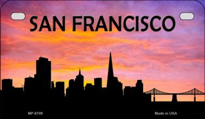 San Francisco Silhouette Novelty Metal Motorcycle Plate MP-8709