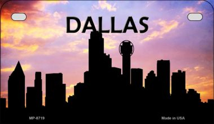 Dallas Silhouette Novelty Metal Motorcycle Plate MP-8719