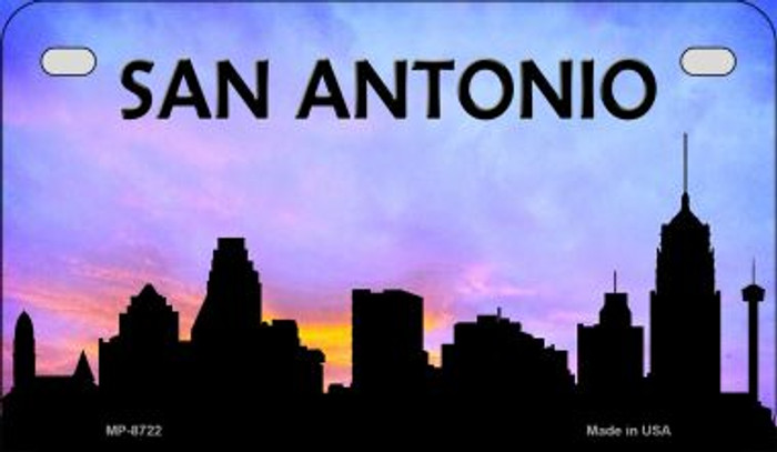San Antonio Silhouette Novelty Metal Motorcycle Plate MP-8722