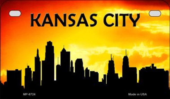 Kansas City Silhouette Novelty Metal Motorcycle Plate MP-8724
