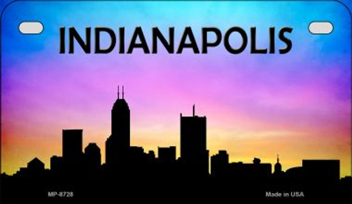 Indianapolis Silhouette Novelty Metal Motorcycle Plate MP-8728