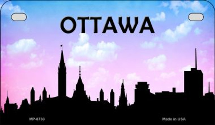 Ottawa Silhouette Novelty Metal Motorcycle Plate MP-8733