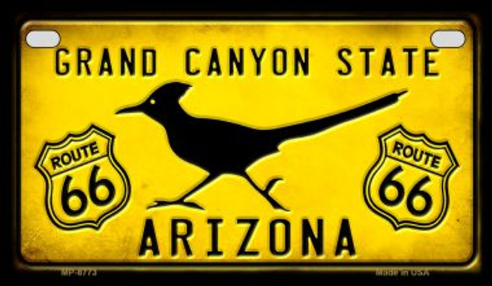 Arizona Route 66 Roadrunner Novelty Metal Motorcycle Plate MP-8773