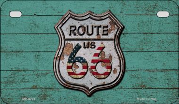 Route 66 Wood Rusty Logo Novelty Metal Motorcycle Plate MP-8774