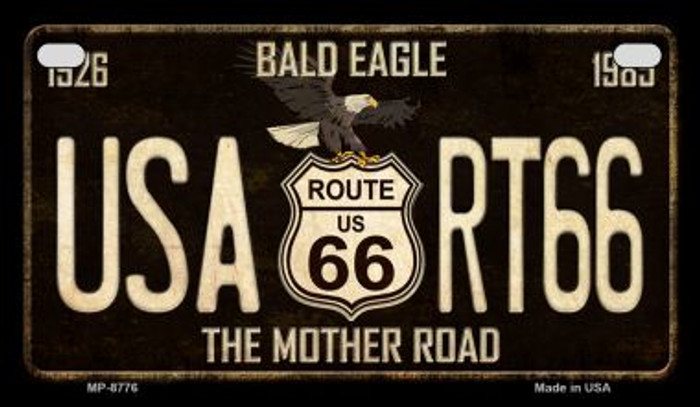 Route 66 Bald Eagle Novelty Metal Motorcycle Plate MP-8776