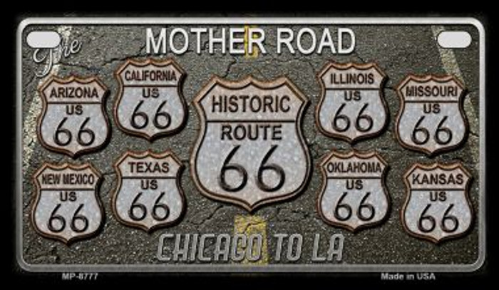 Route 66 Black Top Novelty Metal Motorcycle Plate MP-8777