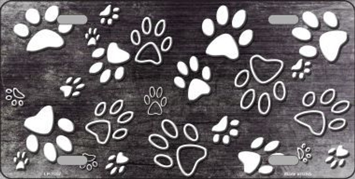 Black White Paw Print Oil Rubbed Metal Novelty License Plate