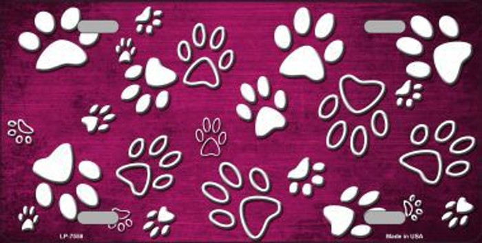 Pink White Paw Print Oil Rubbed Metal Novelty License Plate