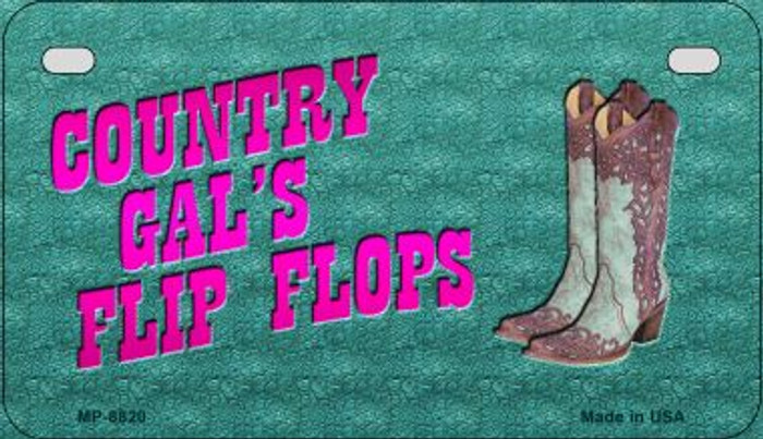 Country Gal's Flip Flops Novelty Metal Motorcycle Plate MP-8820