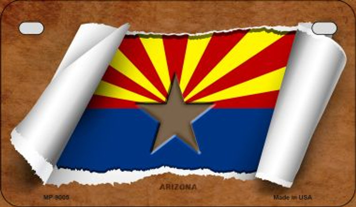 Arizona Flag Scroll Novelty Metal Motorcycle Plate MP-9005