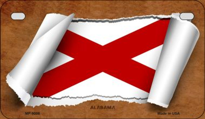 Alabama Flag Scroll Novelty Metal Motorcycle Plate MP-9008