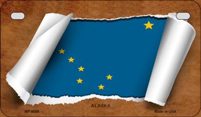 Alaska Flag Scroll Novelty Metal Motorcycle Plate MP-9009