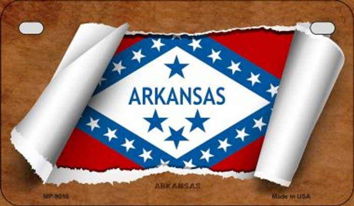 Arkansas Flag Scroll Novelty Metal Motorcycle Plate MP-9010