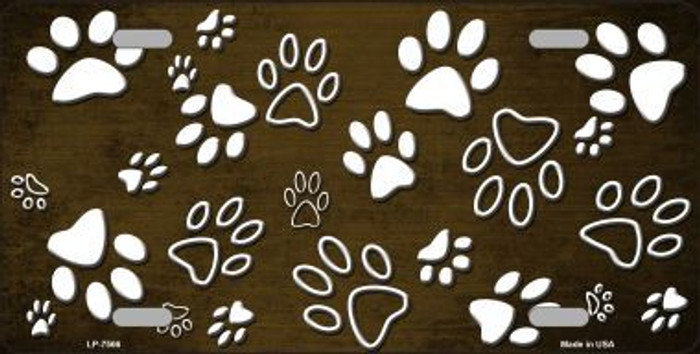 Brown White Paw Print Oil Rubbed Metal Novelty License Plate