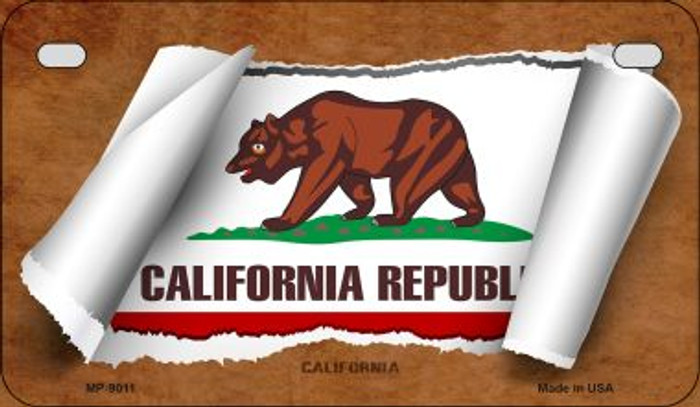 California Flag Scroll Novelty Metal Motorcycle Plate MP-9011