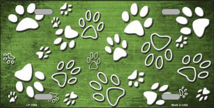 Lime Green White Paw Print Oil Rubbed Metal Novelty License Plate