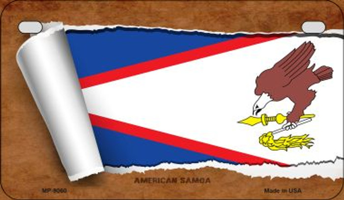 American Samoa Flag Scroll Novelty Metal Motorcycle Plate MP-9060
