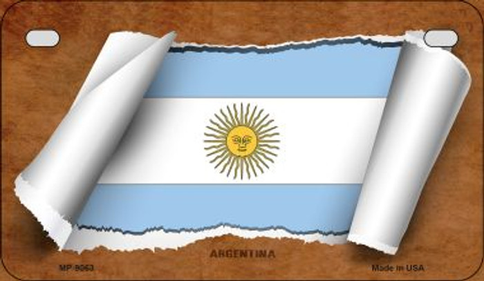 Argentina Flag Scroll Novelty Metal Motorcycle Plate MP-9063