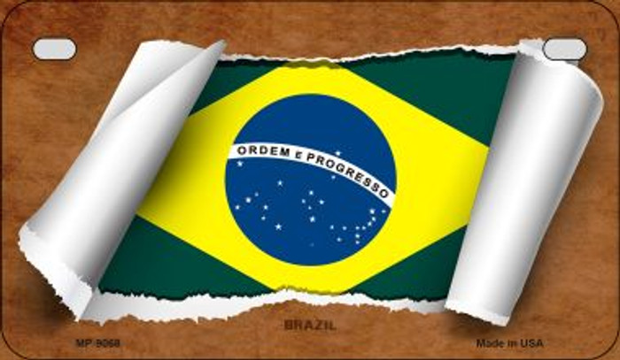 Brazil Flag Scroll Novelty Metal Motorcycle Plate MP-9068