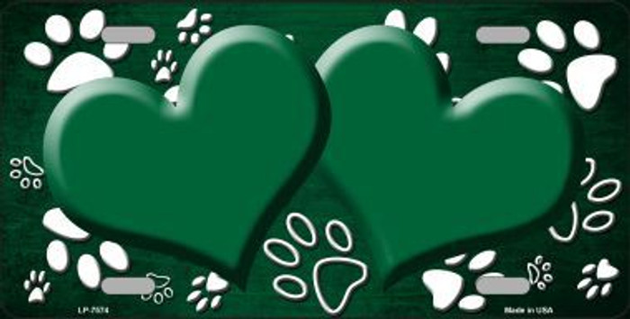 Paw Print Heart Green White Metal Novelty License Plate