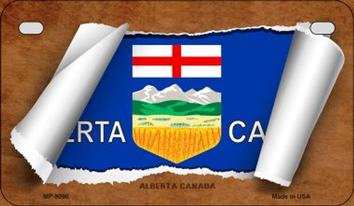 Alberta Canada Flag Scroll Novelty Metal Motorcycle Plate MP-9090