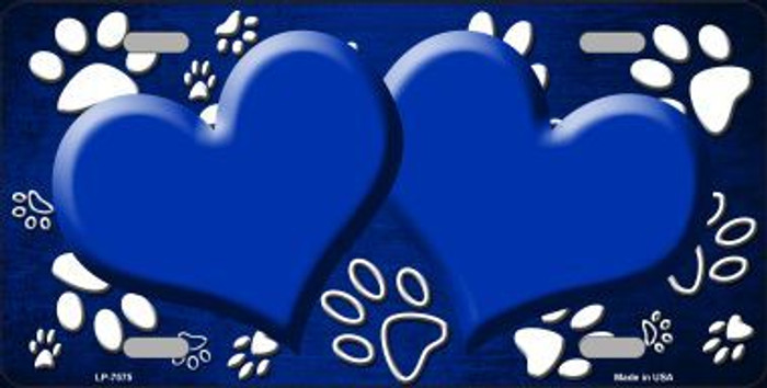 Paw Print Heart Blue White Metal Novelty License Plate
