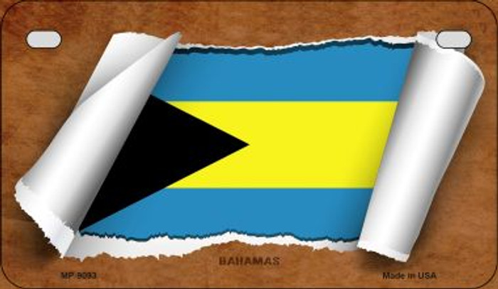 Bahamas Flag Scroll Novelty Metal Motorcycle Plate MP-9093