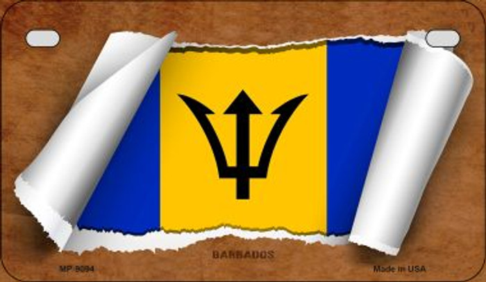 Barbados Flag Scroll Novelty Metal Motorcycle Plate MP-9094