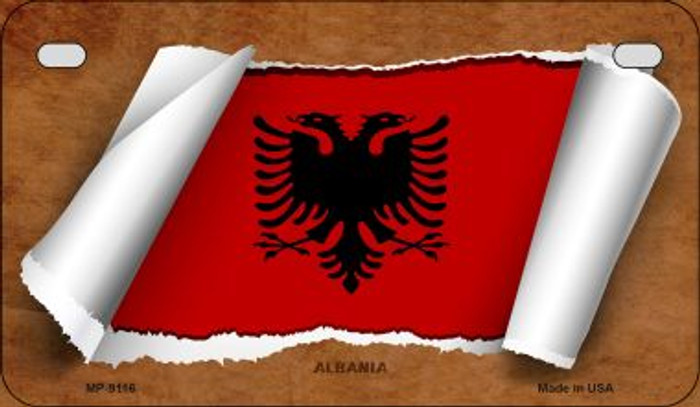 Albania Flag Scroll Novelty Metal Motorcycle Plate MP-9116