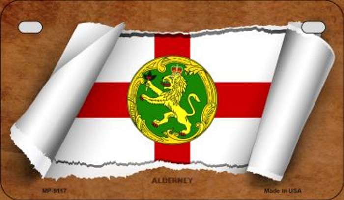 Alderney Flag Scroll Novelty Metal Motorcycle Plate MP-9117