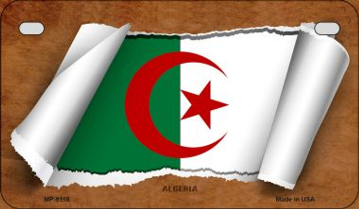 Algeria Flag Scroll Novelty Metal Motorcycle Plate MP-9118