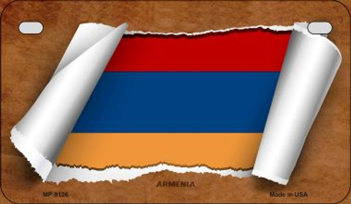 Armenia Flag Scroll Novelty Metal Motorcycle Plate MP-9126