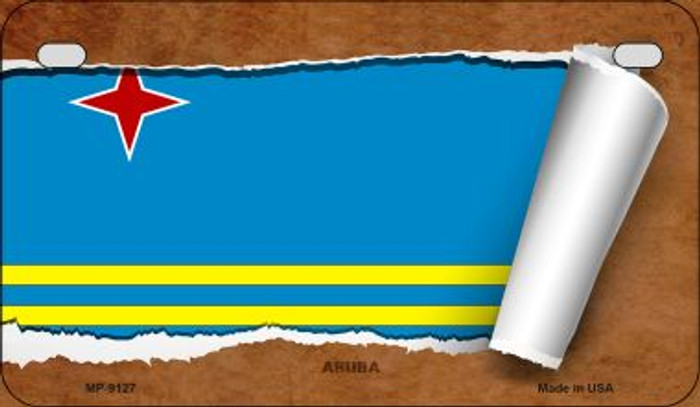 Aruba Flag Scroll Novelty Metal Motorcycle Plate MP-9127