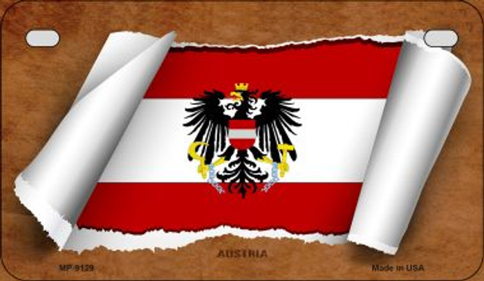 Austria Flag Scroll Novelty Metal Motorcycle Plate MP-9129
