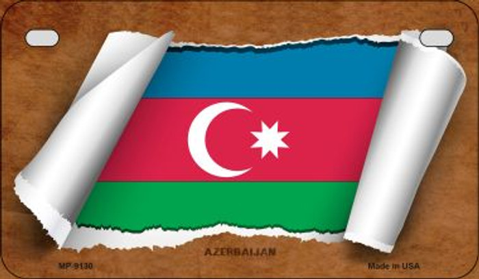 Azerbaijan Flag Scroll Novelty Metal Motorcycle Plate MP-9130