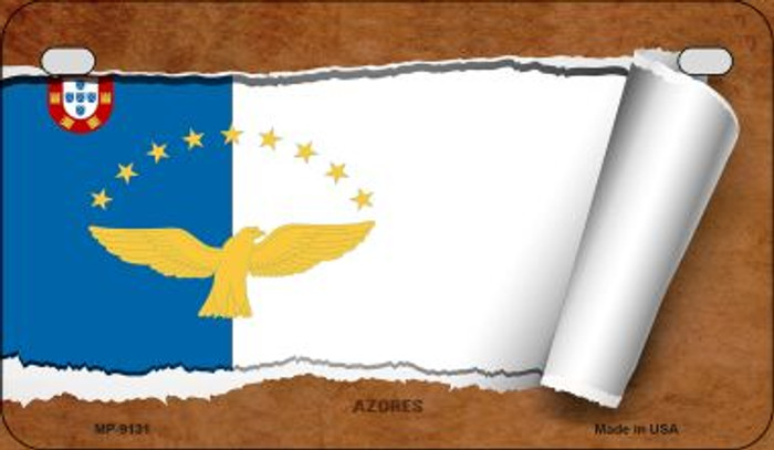 Azores Flag Scroll Novelty Metal Motorcycle Plate MP-9131