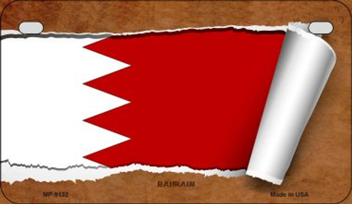 Bahrain Flag Scroll Novelty Metal Motorcycle Plate MP-9132