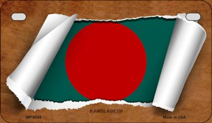 Bangladesh Flag Scroll Novelty Metal Motorcycle Plate MP-9133