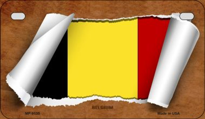 Belgium Flag Scroll Novelty Metal Motorcycle Plate MP-9135
