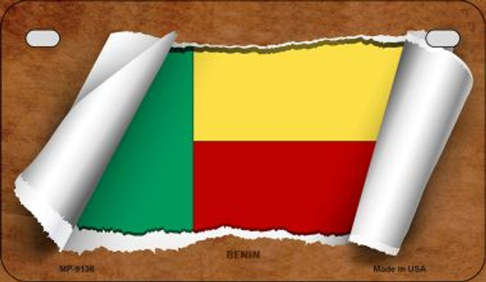 Benin Flag Scroll Novelty Metal Motorcycle Plate MP-9136