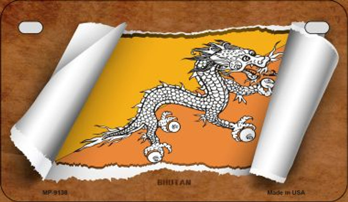 Bhutan Flag Scroll Novelty Metal Motorcycle Plate MP-9138