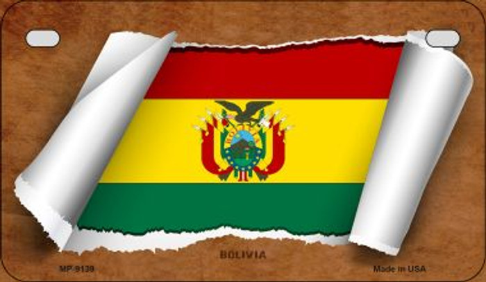 Bolivia Flag Scroll Novelty Metal Motorcycle Plate MP-9139