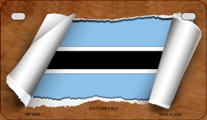 Botswana Flag Scroll Novelty Metal Motorcycle Plate MP-9141