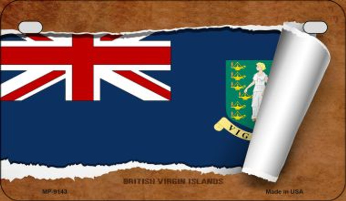 British Virgin Island Flag Scroll Novelty Metal Motorcycle Plate MP-9143