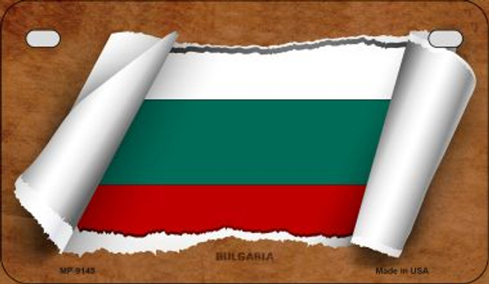 Bulgaria Flag Scroll Novelty Metal Motorcycle Plate MP-9145