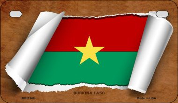 Burkina Faso Flag Scroll Novelty Metal Motorcycle Plate MP-9146